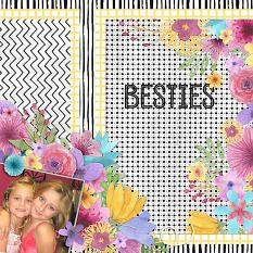 """Besties"" digital scrapbook layout by Cindy Rohrbough"