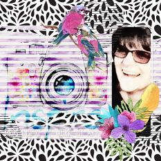 """Birds Inspire My Work, My Art"" digital scrapbook layout by Amy Flanagan"