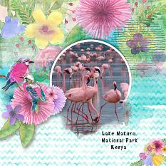 """Lake Nakuru National Park, Kenya"" digital scrapbook layout by Judy Webster"