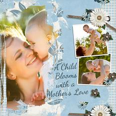 """ A Child Blooms"" Digital Scrapbooking Layout featuring Just Blend It Masks"