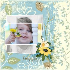 "Digital Scrapbooking layout, "" Treasure the Little Moments"" featuring Just Blend It Masks"