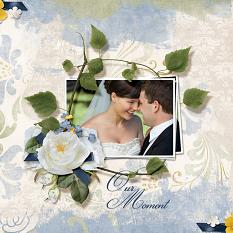 "Digital Layout, ""Our Moment"", featuring ScrapSimple Embellishment Templates:  Stacked Photos2"