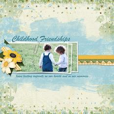 """Childhood Friendships"" digital scrapbooking layout using ScrapSimple Embellishment Templates:  Sta"