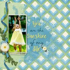 """""""You Are The Sunshine Of My Life"""" layout using Scrap Simple Embellishment Templates: Stacked Photos"""