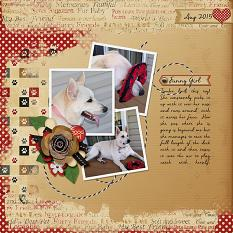 """""""Funny Girl"""" layout using Scrap Simple Embellishment Templates:  Stacked Photos"""