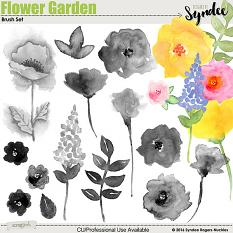 Flower Garden digital brushes clip-art