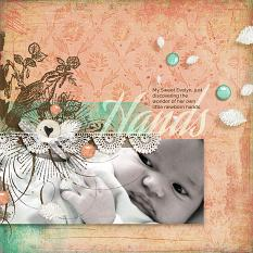 """Hands"" baby #digitalscrapbooking layout idea using ScrapSimple Blended Over layout album templates by Amanda Fraijo-Tobin 