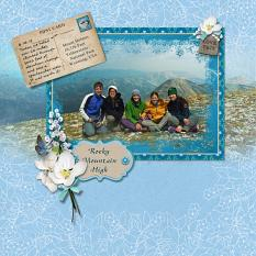 """Rocky Mountain High"" digital scrapbook layout by Sue Maravelas"
