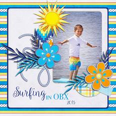 Surfing in OBX digital scrapbook layout by Laura Louie