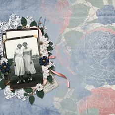 """Sisters"" layout using ScrapSimple Embellishment Templates:  Stacked Photos 3 - Vintage"