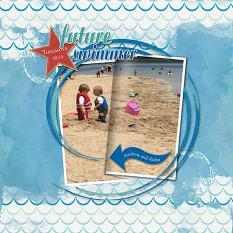 """Future Swimmer"" layout using ScrapSimple Embellishment Templates:  Stacked Photos Vol. 4 - Folded"