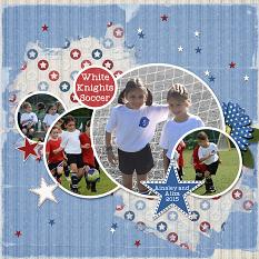 """White Knights Soccer"" layout using ScrapSimple Embellishment Templates:  Stacked Photos Vol. 5 - Circles"