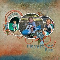 """Playground Fun"" layout using  ScrapSimple Embellishment Templates:  Stacked Photos Vol. 5 - Circles"