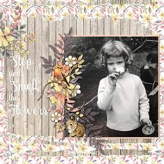 """Stop And Smell The Flowers"" digital scrapbooking layout by Cindy Rohrbough"