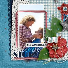"""All American Love Story"" digital scrabooking layout by Amanda Fraijo-Tobin - AFTdesigns using 'Americana Blues' Collection #scrapbooking #scrapbook #photoedit #photoshop"