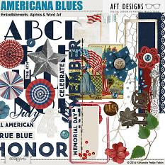 Americana Blues #digitalscrapbooking embellishments and word art - great for scrapbooking Veteran's Day, Memorial Day, and 4th of July Celebrations