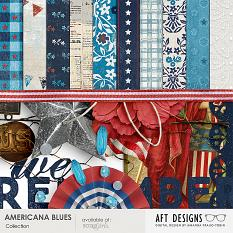"Detail of paper and embellishments included in 'Americana Blues"" #digitalscrapbooking kit by AFTdesigns"