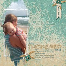 """All Tuckered Out"" layout using Just Beachy Collection"