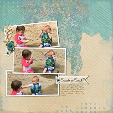 """Snack or Sand"" layout featuring ScrapSimple Digital Layout Templates:  Just Blend It"