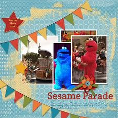 """Sesame Parade"" layout using ScrapSimple Digital Layout Templates:  Just Blend It"