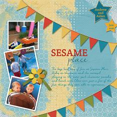 """Sesame Place"" layout featuring ScrapSimple Digital Layout Templates:  Just Blend It"