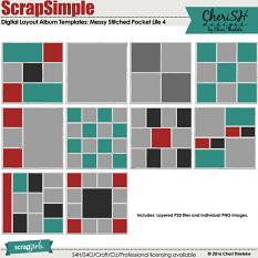 ScrapSimple Digital Layout Album Templates: 12x12 Messy Stitched Pocket Life 4