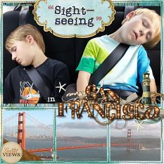 Layout using ScrapSimple Digital Layout Album Templates: 12x12 Messy Stitched Pocket Life 4