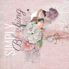 """Simply Blushing"" #digitalscrapbooking layout idea using Blushed Collection Mini #pink #wedding #photobook #scrapbook"