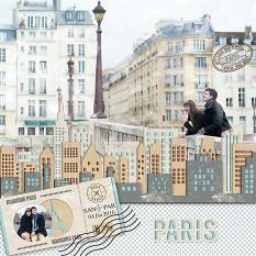 Digital scrapbooking layout by Judy Webster using Brush Set: Travel Stamps
