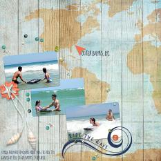 Digital scrapbooking layout, featuring Surfside Collection