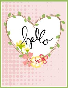 Printable Hello card using Hand Lettered Digital Stamp set