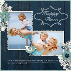 """A Day At The Beach"" Digital Scrapbooking Layout By Judy Webster"