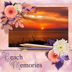 """Beach Memories"" digital scrapbook layout by Laura Louie"