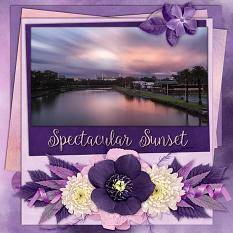 """Spectacular Sunset"" digital scrapbook layout by Laura Louie"