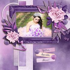 """Sparkle, Glitter, Shine"" digital scrapbook layout by Laura Louie"
