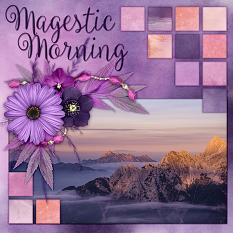 """Majestic Morning"" digital scrapbook layout by Laura Louie"