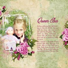 """Queen Elsa"" layout using ScrapSimple Embellishment Templates:  Stacked Photos Vol. 6"