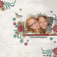 """Sisters"" layout using ScrapSimple Embellishment Templates:  Stacked Photos Vol. 6"