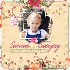"""Summer is made for Swinging"" layout featuring ScrapSimple Embellishment Templates:  Stacked Photos Vol. 6"