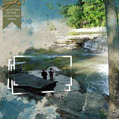 """Cataract Falls"" layout using ScrapSimple Embellishment Templates:  Stacked Photos Vol. 6"