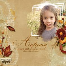 """Autumn Smiles"" layout featuring ScrapSimple Embellishment Templates:  Stacked Photos Vol. 6"