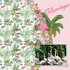 """""""Flamingo Party"""" Digital Scrapbook Layout By Cindy Rohrbough"""