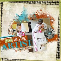 art inspired #scrapbooking layout idea using kit art by Amand Fraijo-Tobin | AFTdesigns #digitalscrapbooking #artjournaling