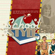 School Styles back to school vintage digital scrapbooking layout idea | AFTdesigns @ScrapGirls.com