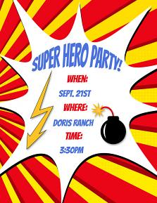 Comic Shapes Party Invite