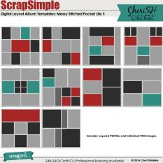 ScrapSimple Digital Layout Album Templates: 12x12 Messy Stitched Pocket Life 5