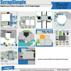 ScrapSimple Digital Layout Album Templates: 12x12 Singles Biggie