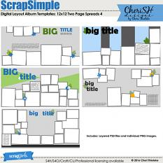 ScrapSimple Digital Layout Album Templates:12x12 Two Page Spreads 4