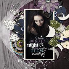 """The Magic in the Night"" digital scrapbooking layout by AFT designs using Falloween Hallowen layered paper flower embellishments 