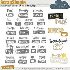 ScrapSimple Word Art Templates: Warm and Cozy Tags